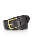 Leather belt with a buckle isolated. Leather grey belt with a buckle isolated Stock Photos