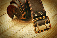 Leather belt with a buckle Stock Photography