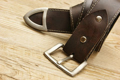 Leather belt with a buckle Stock Image