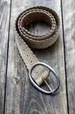 Leather belt in close-up Stock Images
