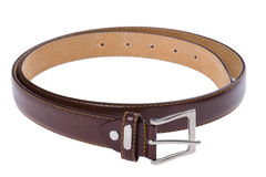 Leather belt isolated on white Stock Images