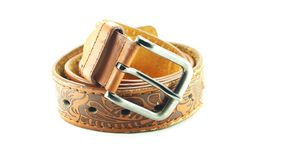 Leather belt isolated Stock Photo