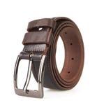 Leather belt. Isolated on white background Stock Photos
