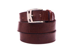 Leather belt.Isolated on white Stock Photo