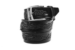 Leather belt.Isolated on white Royalty Free Stock Photo