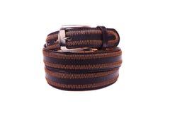 Leather belt.Isolated on white Stock Photos
