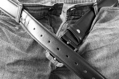 Leather belt on  jeans pants Royalty Free Stock Image