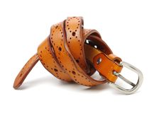 Leather Belt. On white background stock photography