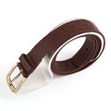 Leather belt. For men on gray background Stock Photo