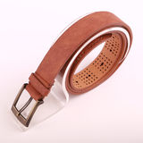 Leather belt. For men on gray background Stock Photos