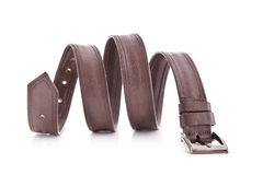 Leather belt for men. On white background Royalty Free Stock Image