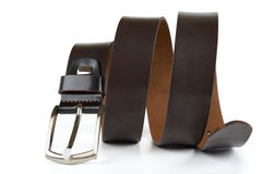 Leather belt for men on white background. Stock Image