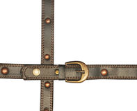 Leather belt with metal buckle. Isolated over white Stock Photos