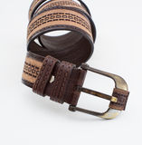 Leather belt   on white Stock Photo