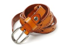 Leather Belt. On white background royalty free stock photos