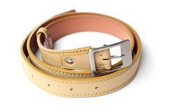 Leather belt. The leather belt is on white background Stock Photography