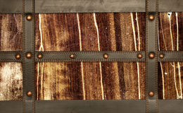Leather belt and wooden plank Stock Photography