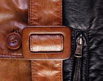 Leather with a belt and zip background Royalty Free Stock Photo