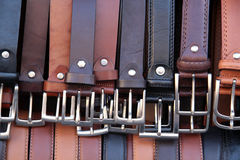 Leather belts. On a market stand in Florence royalty free stock photo