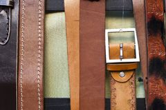 Leather belts Stock Photos