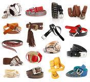 Leather belts. Isolated on the white royalty free stock photo