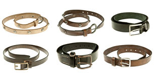 Leather belts. Collection of modern leather belts stock images