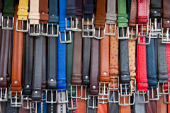 Leather belts. Group of leather belts on a street market in Florence royalty free stock image