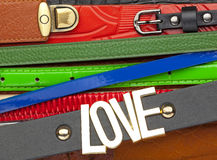 Leather belts background Royalty Free Stock Photography