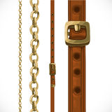 Leather belts with brass buckles and large and small shain Stock Photography