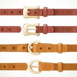 Leather belts with buckles buttoned and unbuttoned variants isol Royalty Free Stock Image