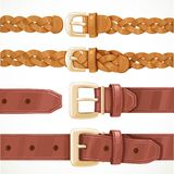 Leather belts with buckles buttoned and unbuttoned variants 1 Stock Photos