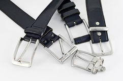 Leather belts with buckles Stock Images