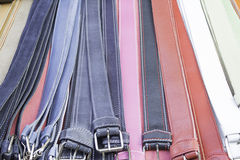 Leather belts colors Stock Photos