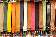 Leather Belts in Florence. This is an image of an assortment of very stylish belts in the market in Florence Stock Photo