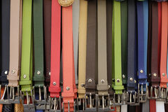 Leather belts Florence Italy. Colorful leather belts for sale at an outdoor market in Florence Italy Royalty Free Stock Photography
