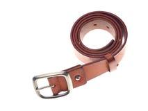 Leather belts isolated on white background Stock Photo