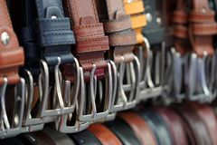 Leather belts in italian market for sale Royalty Free Stock Photography
