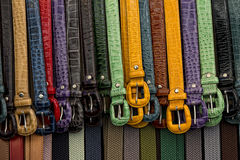 Leather belts in italian shop in florence Royalty Free Stock Photo