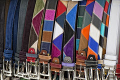 Leather belts in italian shop in florence Royalty Free Stock Image