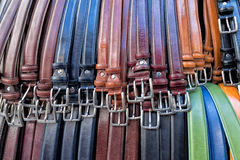 Leather belts in italian shop in florence Royalty Free Stock Photography