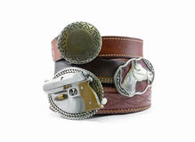 Leather belts. Machines belts wear for men Royalty Free Stock Photo