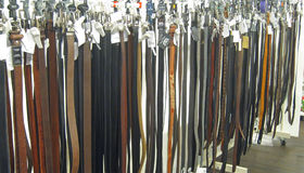 Leather belts for pants or trousers. Stock Image