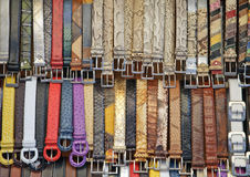 Leather belts for sale Royalty Free Stock Photo