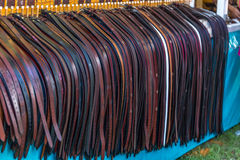 Leather Belts. For sale at the annual Brooklet Peanut Festival in downtown Brooklet, Georgia Royalty Free Stock Images