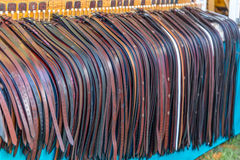 Leather Belts. For sale at the annual Brooklet Peanut Festival in downtown Brooklet, Georgia Royalty Free Stock Photos