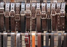 Leather Belts for Sale Royalty Free Stock Image