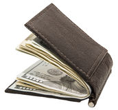 Leather billfold banknotes white isolated Royalty Free Stock Photos