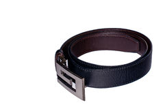 Leather black belt isolated. Leather black belt for men white background isolated Royalty Free Stock Photos
