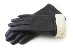 Leather black gloves. Isolated on a white background Stock Image