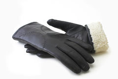 Leather black gloves Stock Image